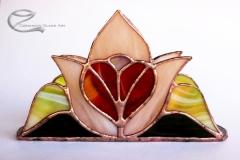 Tiffany rozsaszin tulipanos, piros szives szalvetatarto 1