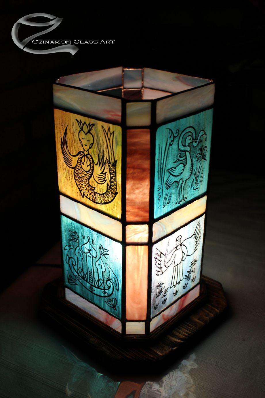 Festett lámpa, festett-figuralis-tiffany-lampa-5