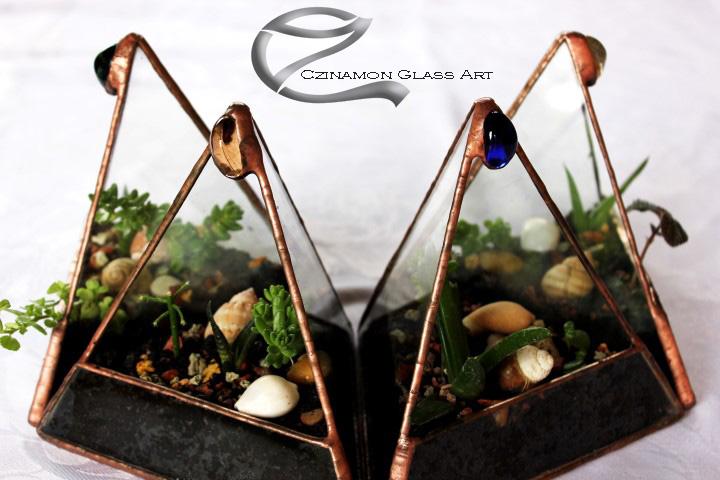 Háromszög floráriumok beültetve kis növénykékkel.