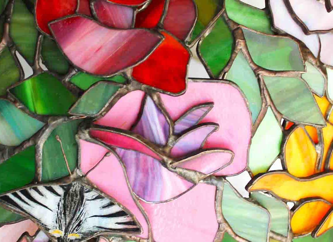 Rózsabokor tiffany lámpa
