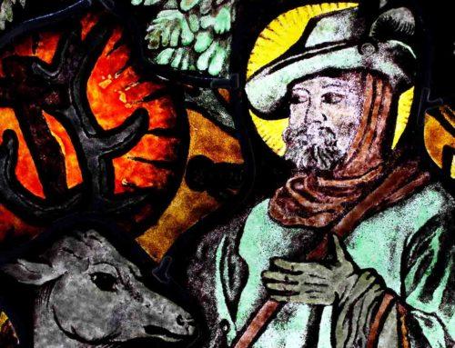 Festett ólomüveg kép Szent Hubertuszról