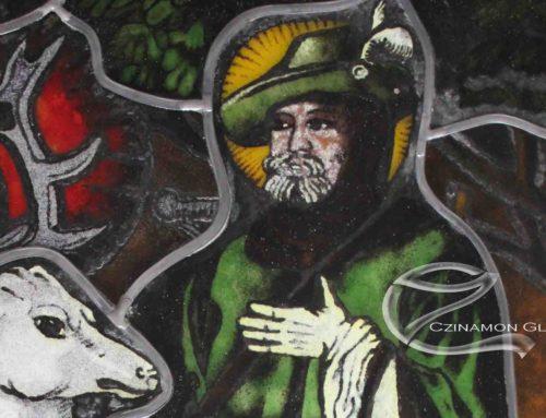 Ólomüveg kép Szent Hubertuszról