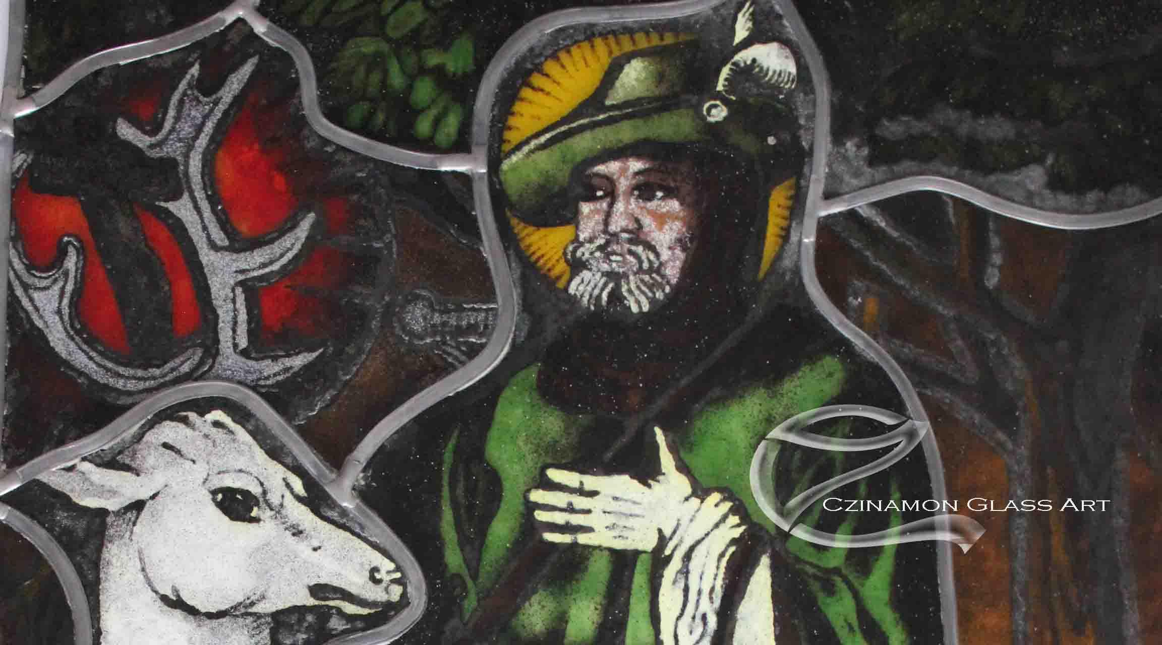 Ólomüveg kép, Szent Hubertusz