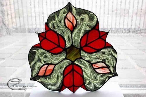 Tulipános festett tiffany ablakdísz, Valentin napi ajándékok