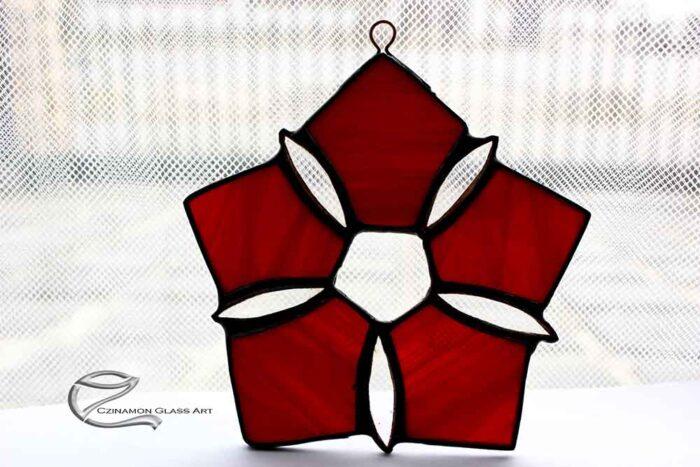Piros hópehely ablakdísz
